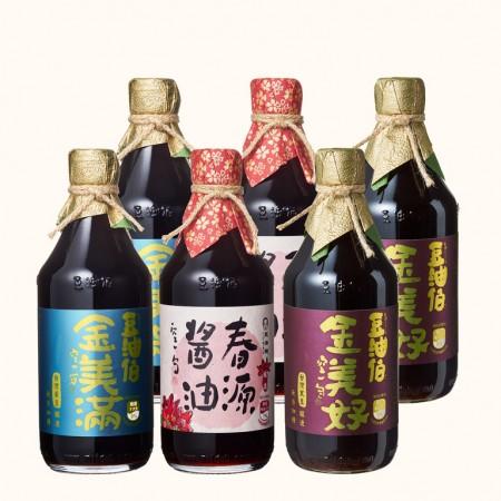 【豆油伯】金美好醬油2入+金美滿醬油2入+春源醬油2入(共6入)