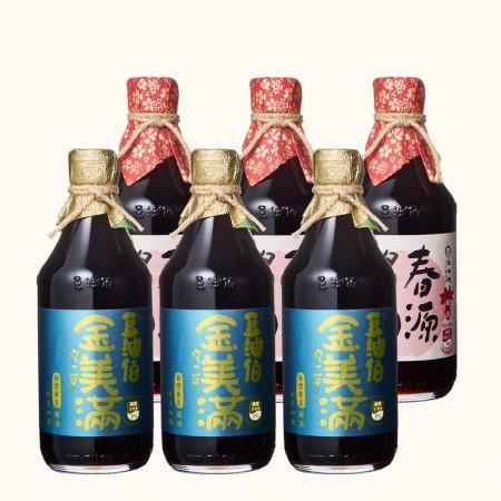 【豆油伯】金美滿醬油3入+春源醬油3入(共6入)