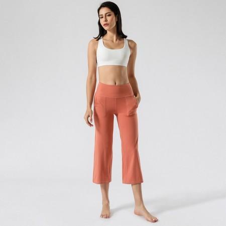 【時尚瑜伽 / 運動】寬版 舒適自由瑜伽舞蹈七分褲 雙側口袋
