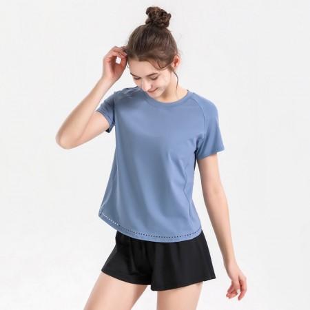【時尚瑜伽 / 運動】女款 經典舒適運動休閒腰身短袖上衣
