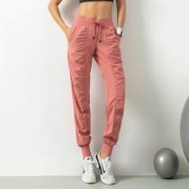 【時尚瑜伽 / 運動】女款 顯瘦 皺面抽繩休閒褲