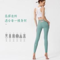 【時尚瑜伽 / 運動】裸感交叉鏤空美腰瑜伽褲