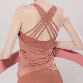 【時尚瑜伽 / 運動】二合一X型美背運動內衣上衣 一件抵兩件